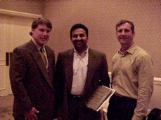 In the middle, Jikku Venkat, CTO, United Devices is honored as Austin's Information Technologist of the Year by AITP President Scott Calvin