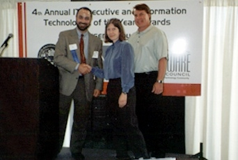 Dr. Cathy Fulton, Chief Technology Officer, NetQoS, Inc. is honored as Austin's Information Technologist of the Year by ASC Executive Director Paul Toprac