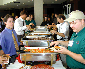 Event Attendees feasted on a large Mexican Food Buffet