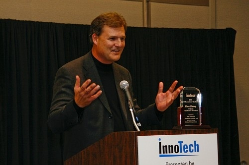 Russ Finney, Vice President of Tokyo Electron, accepts his IT Executive of the Year award